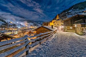 Image Winter Roads Austria Salzburg Night Snow Fence Grossarl Cities