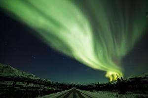 Bilder Winter Wege Nacht Nordlicht Schnee