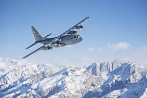 Hintergrundbilder Alaska Berg Flugzeuge Schnee Flug C-130 Hercules Luftfahrt