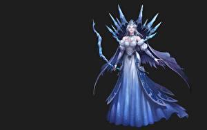 Bilder Bogenschütze Schwarzer Hintergrund Kleid League of Angels NESSI Mädchens Fantasy