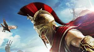 Bilder Assassin's Creed Odyssey Krieger Helm computerspiel