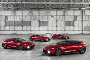 Fondos de Pantalla Aston Martin Rojo Metálico Color burdeos 2016-18 Vanquish Zagato Coches