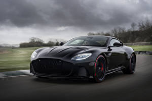 Bilder Aston Martin Schwarz Bewegung 2019 DBS Superleggera TAG Heuer Edition Autos