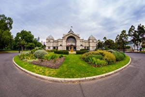 Fondos de escritorio Australia Melbourne Edificio Césped Arbusto Farola