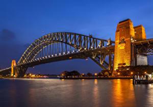 Pictures Australia Rivers Bridges Evening Sydney Street lights Cities