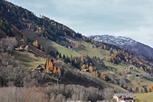 Bilder Österreich Berg Herbst Haus Schnee Dorf