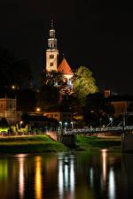 Pictures Austria Salzburg Houses Temples Church River Bridge Night time Maria Himmelfahrt Church Cities