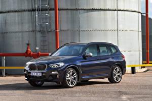 Bakgrunnsbilder BMW Blå Metallisk Crossover 2019 X3 M40d bil