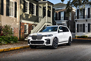 Wallpaper BMW White CUV 2020 X7 xDrive50i M Sport auto