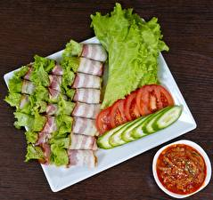 Picture Bacon Tomatoes Cucumbers Sliced food Food