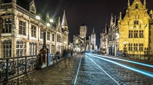 Bilder Belgien Gebäude Brücken Wege Nacht Straßenlaterne Gent Städte