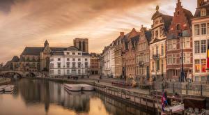 壁纸、、ベルギー、住宅、桟橋、夕、運河、ストリート、Gent、