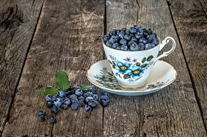 Wallpaper Berry Blueberries Cup Saucer Wood planks Food