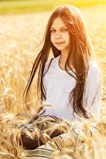 Image Bread Little girls Ear botany Hair Brunette girl Children