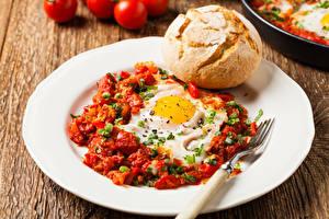 Bilder Brot Gemüse Teller Spiegelei Gabel Frühstück Lebensmittel