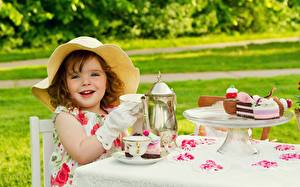 Images Cake Kettle Hat Smile Little girls Table Cup Children