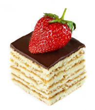 Bilder Törtchen Erdbeeren Schokolade Weißer hintergrund