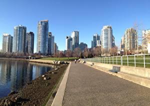 Hintergrundbilder Kanada Wolkenkratzer Vancouver Waterfront Asphalt Gehweg Städte