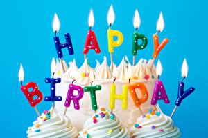 Pictures Candles Fire Birthday Cakes English Lettering Food