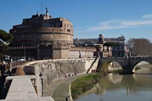 Pictures Castle Rome Italy River Bridges Monuments Museum Castel Sant'angelo, Adriano Park, Tiber river Cities