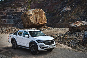 Wallpapers Chevrolet White Pickup 2019 Colorado Trail Boss Double Cab auto