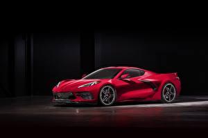 Bilder Chevrolet Rot 2020 Corvette C8 Stingray automobil