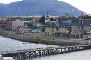 Fotos Chile Gebäude Flusse Brücken Las Minas river, South America, Punta Arenas, province of Magallanes Städte