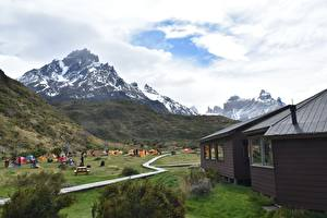 Image Chile Mountain Houses Parks Tourism Grass Torres Del Paine National Park, Patagonia