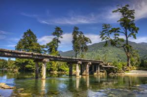 Hintergrundbilder Chile Fluss Brücke Gebirge Bäume Patagonia Natur