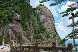 Hintergrundbilder China Berg Felsen Zaun Huangshan Mountains, Anhui Natur