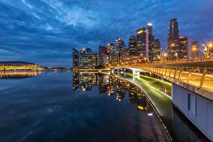 壁纸、、海岸、建物、夕、シンガポール、橋、湾、