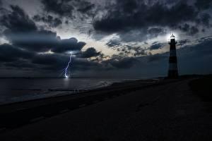 Hintergrundbilder Küste Leuchtturm Himmel Nacht Bucht Blitz