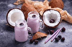Hintergrundbilder Kokosnuss Brombeeren Joghurt Becher das Essen