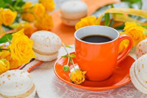 Hintergrundbilder Kaffee Rosen Tasse Macaron Untertasse das Essen