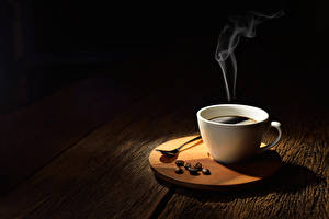 Pictures Coffee Wood planks Cup Grain Vapor Food