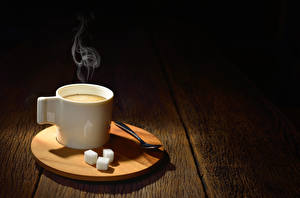 Papéis de parede Café Tábuas de madeira Chávena Açúcar Colher Vapor Alimentos
