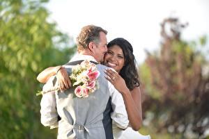 Pictures Lovers Men Bouquets 2 Noces Grooms Bride Brunette girl Smile Hug Hands Negroid young woman