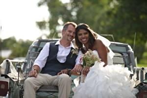 Image Lovers Man Noces 2 Grooms Brides Smile Brunette girl Sit Negroid