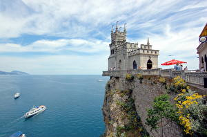 Images Crimea Russia Castles Ships Sea Monuments Rock Swallow's nest, Aurora rock, Black Sea Nature