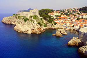 Pictures Croatia Coast Sea Castles Building Dubrovnik Rock Dubrovnik-Neretva County