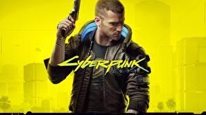 Hintergrundbilder Cyberpunk 2077 Pistole Mann Jacke Cyborgs Spiele