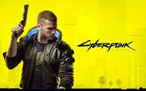 Hintergrundbilder Cyberpunk 2077 Pistolen Mann Jacke Cyborgs Spiele