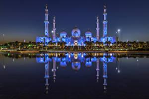 壁纸、、アラブ首長国連邦、建物、寺院、湾、夜、倒影、Abu Dhabi、都市