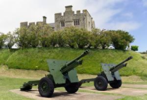Hintergrundbilder England Kanone Burg Zwei Gras Dover Castle, Kent, city of Dover Städte