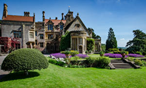 Pictures England Houses Mansion Design Shrubs Stairway Lawn Tyntesfield Victorian Gothic revival house Cities