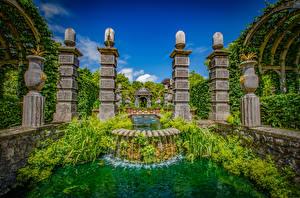 Fotos England Parks Springbrunnen Wasserfall Design Arundel Castle Gardens Natur