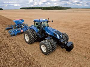 Hintergrundbilder Felder Landwirtschaftlichen Maschinen Traktoren 2010-14 New Holland T8.360