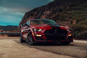 Fondos de Pantalla Ford Rojo Frente Tiras Color burdeos Mustang Shelby GT500 2019 Coches