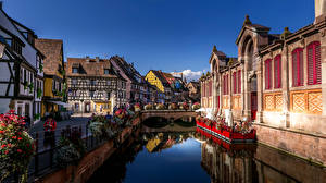 壁纸、、フランス、建物、橋、運河、Colmar、都市