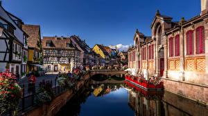 Bilder Frankreich Haus Brücke Kanal Colmar Städte